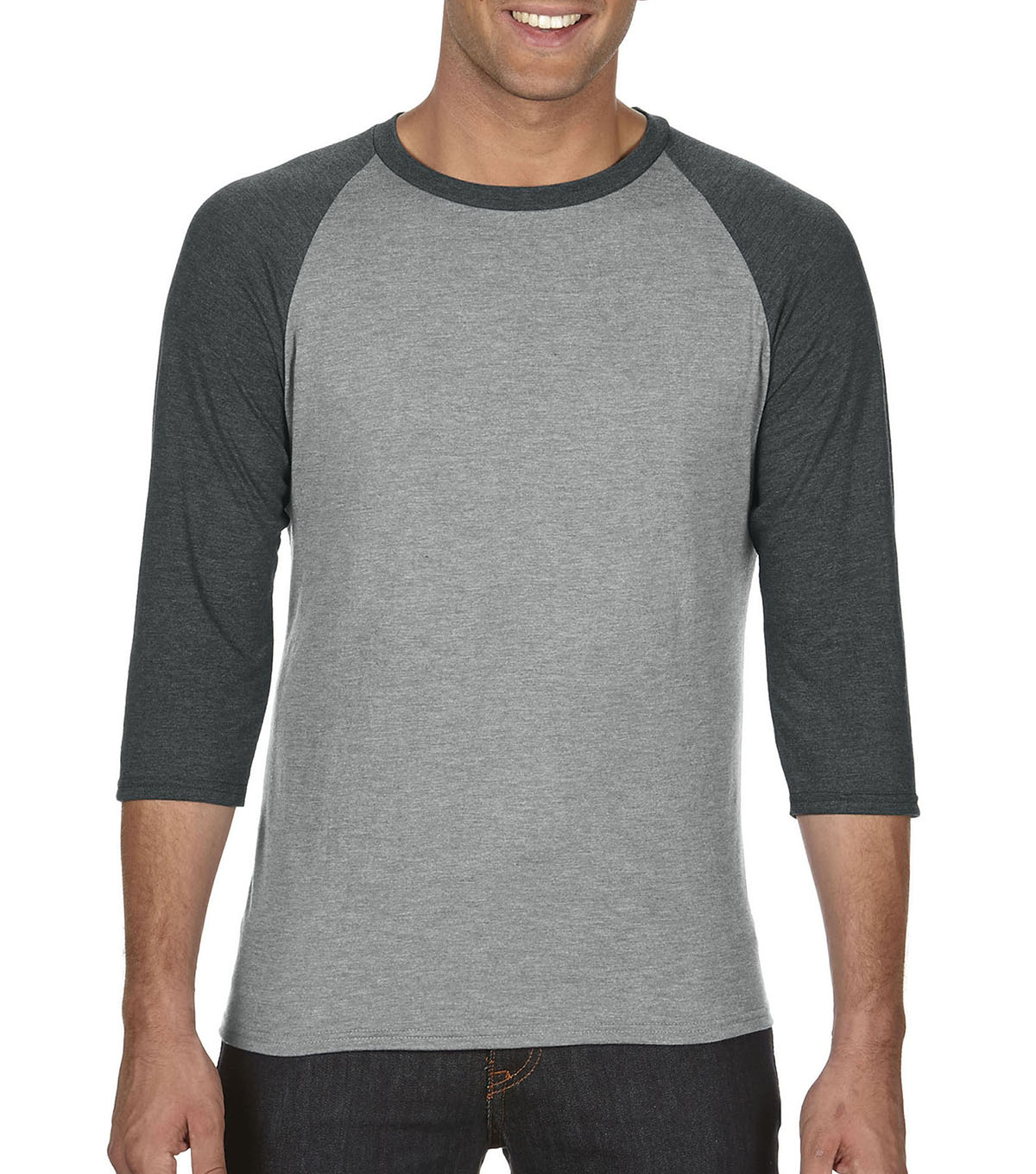 Anvil Extra Large Adult Raglan Shirt, Grey/dark Grey