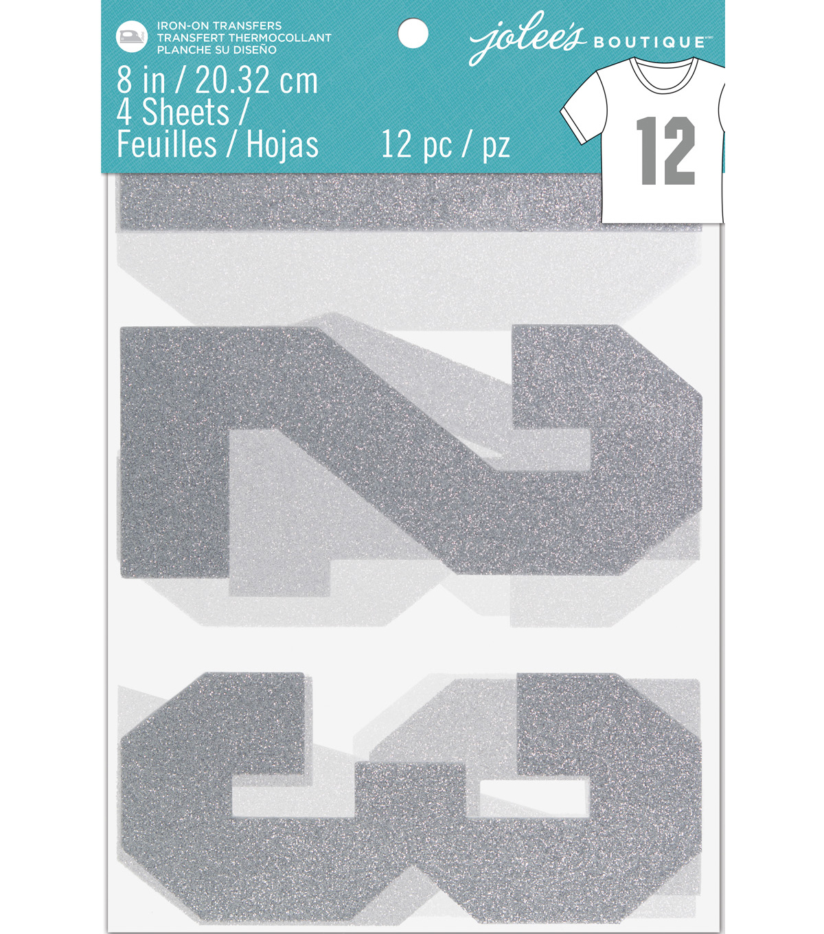 Jolee\u0027s Boutique 12 pk Glitter Number Iron-on Transfers-Silver