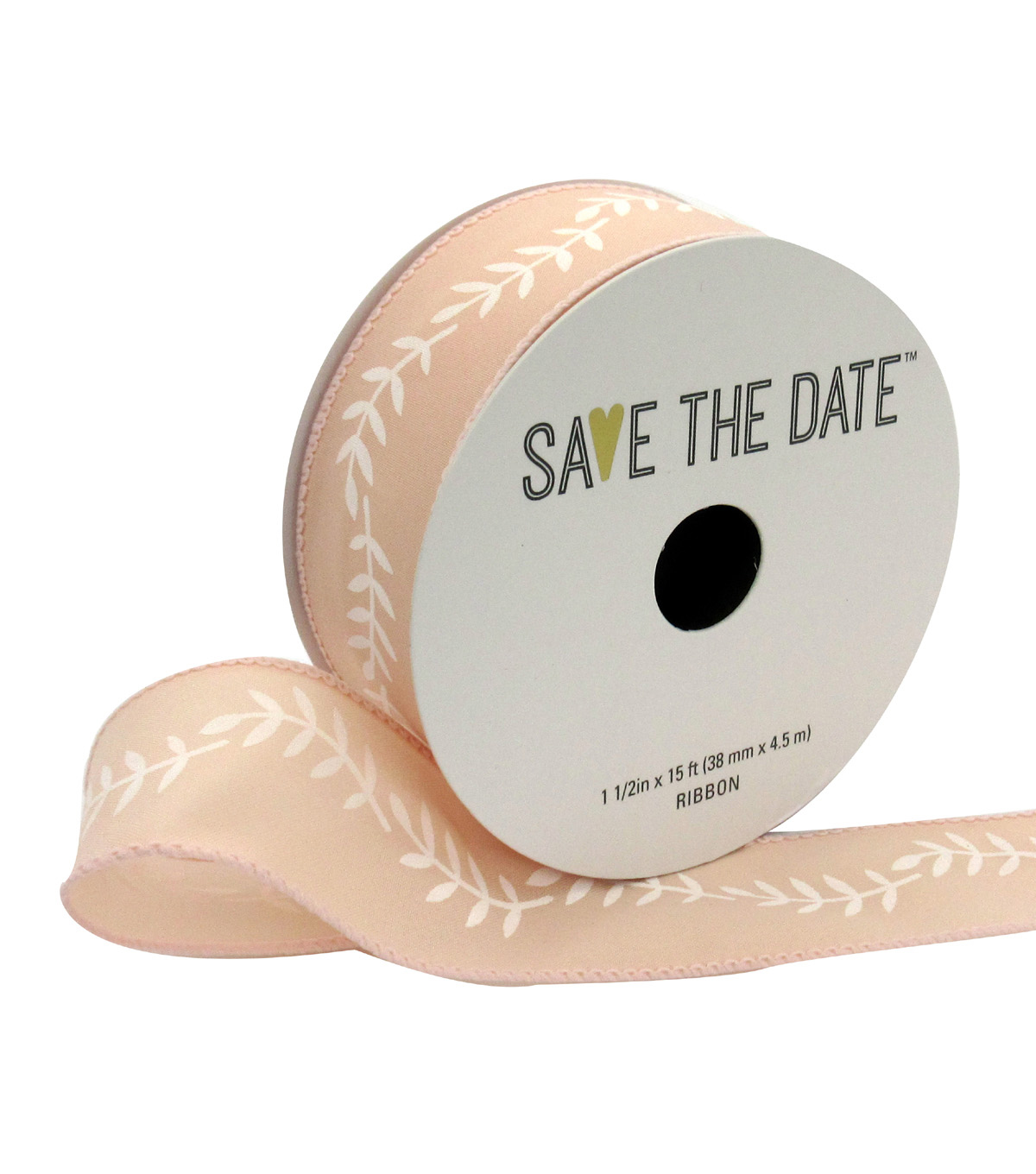 Save the Date 1.5\u0022 x 15ft Ribbon-White Fern On Blush