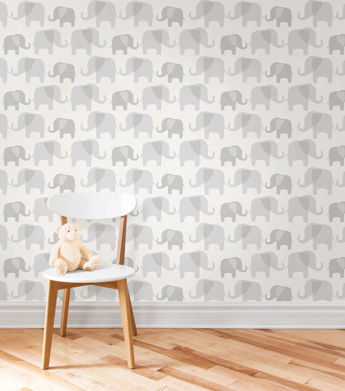 Wallpopsnuwallpaper Gray Elephant Parade L And Stick Wallpaper