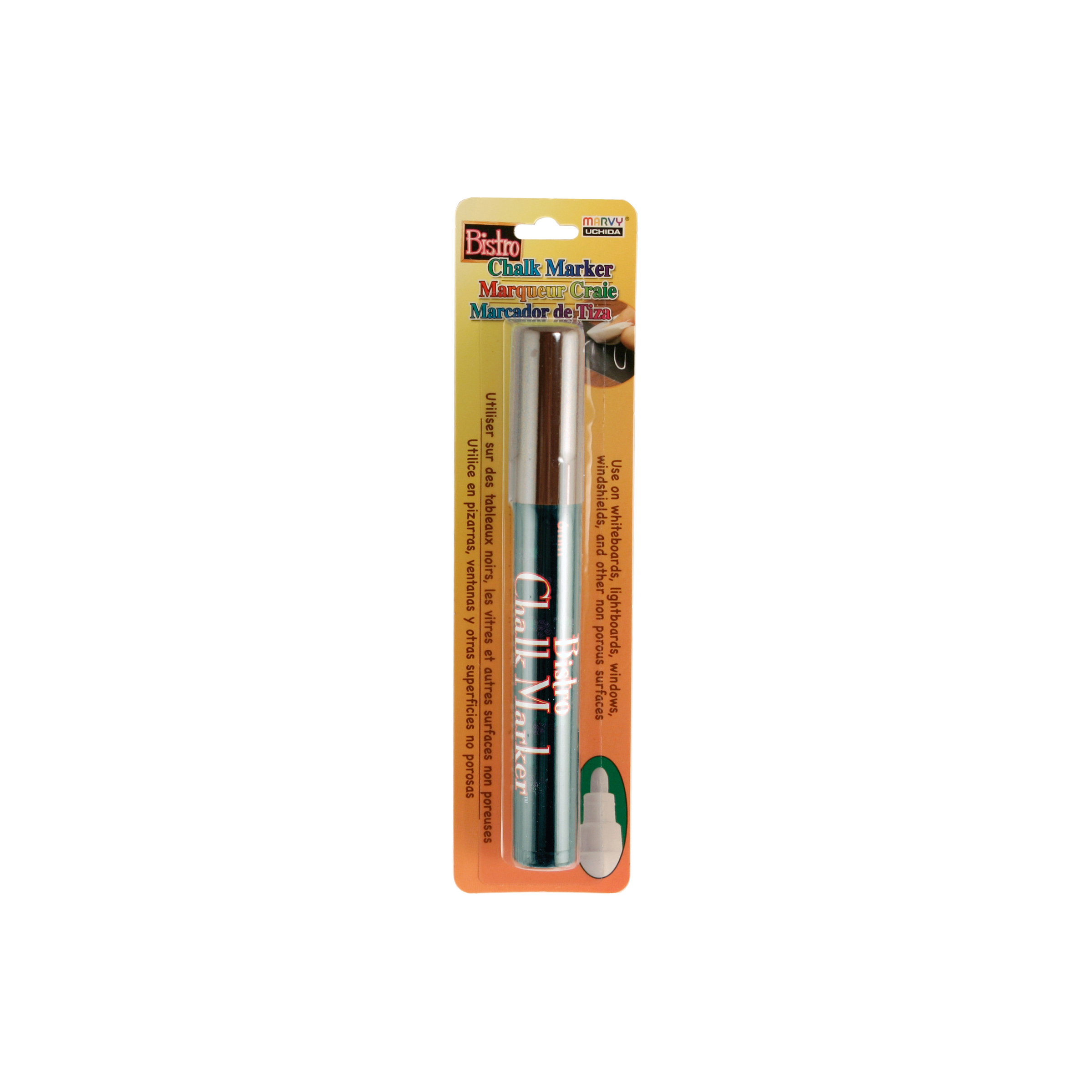 Bistro Chalk Marker 6mm Bullet Tip 1/Pkg-White, Brown