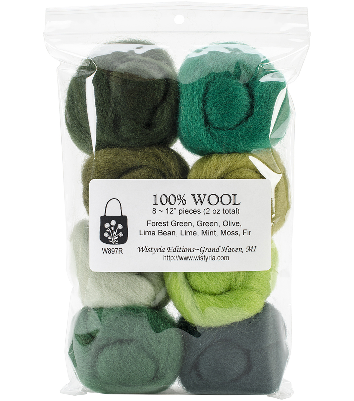Wistyria Editions Ultra Fine Wool Roving, Jungle