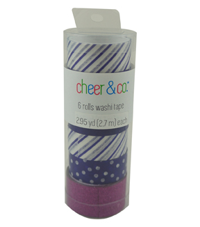 Cheer & Co. 6 pk Washi Tapes 2.95 yds-Purple & Blue