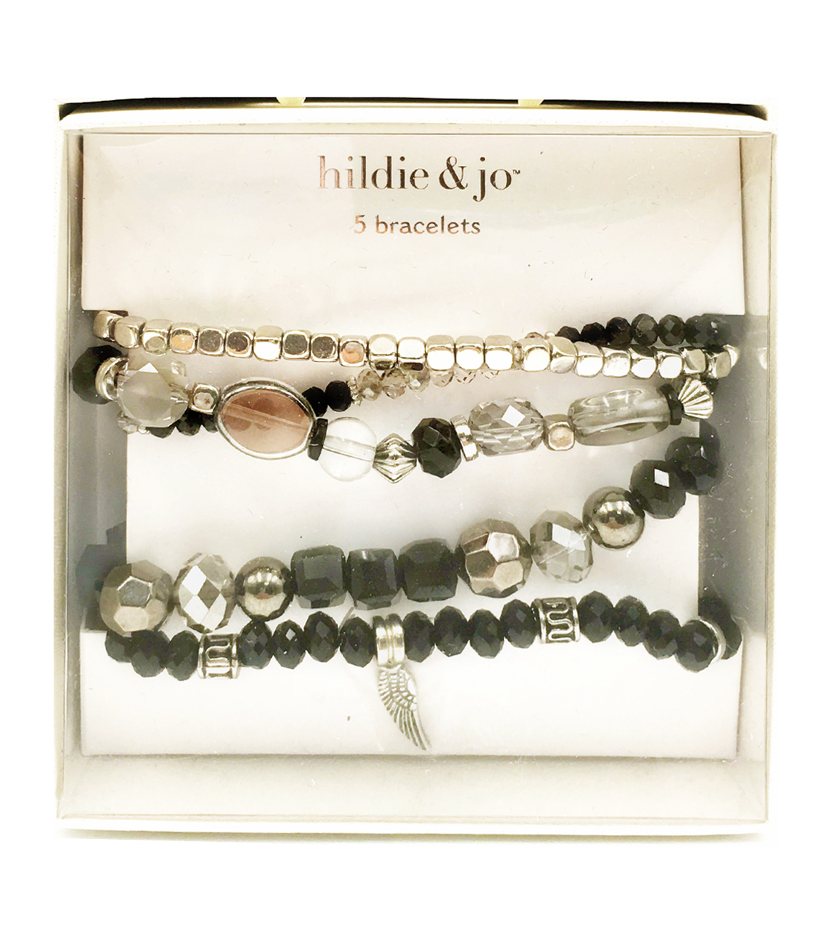 hildie & jo 5 pk Bracelets in a Box-Black