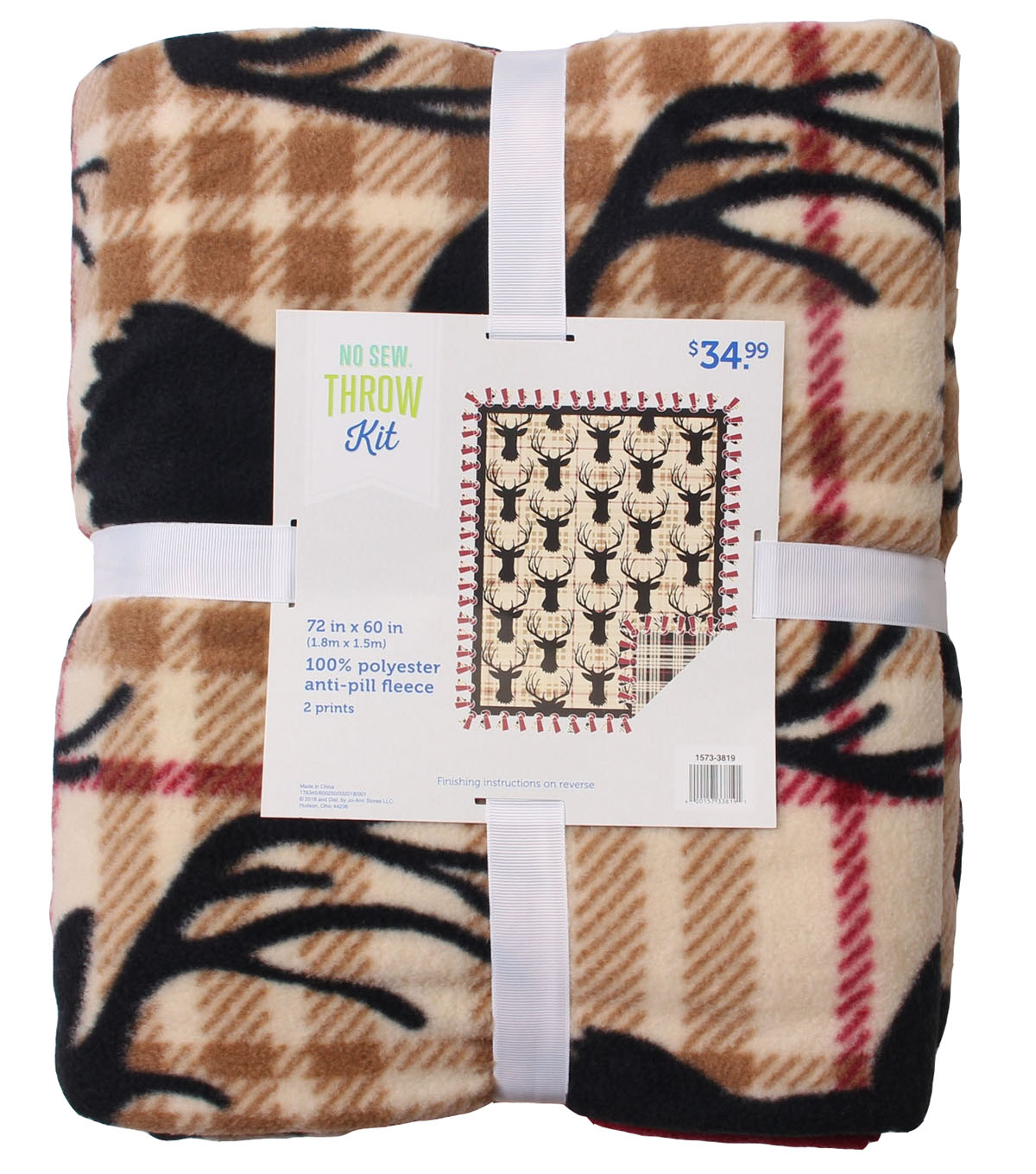 No Sew Fleece Throw 72\u0022-Neutral Stag Head