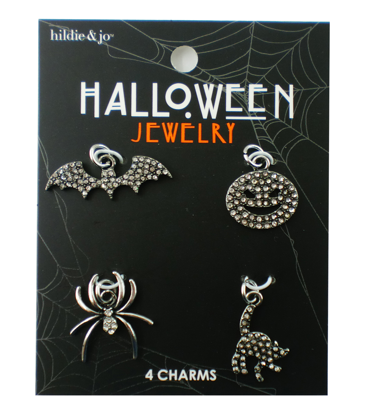 hildie & jo Halloween 4 pk Charms-Silver