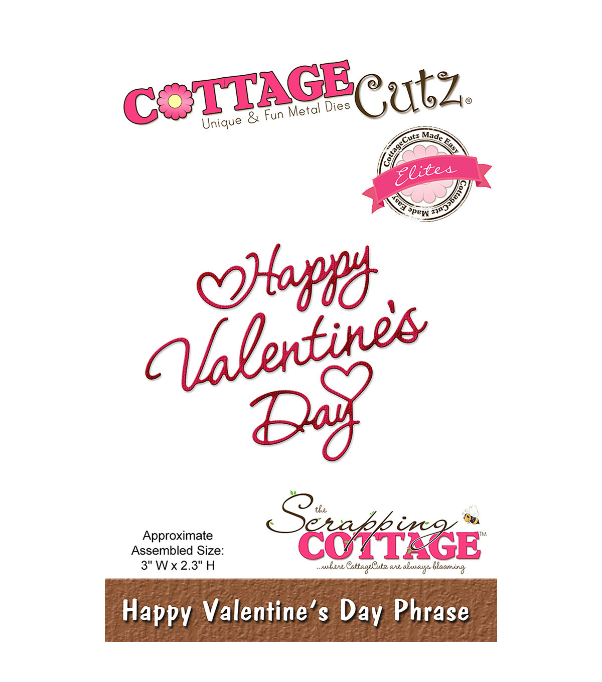 CottageCutz 3\u0027\u0027x2.3\u0027\u0027 Elites Die-Happy Valentine\u0027s Day Phrase