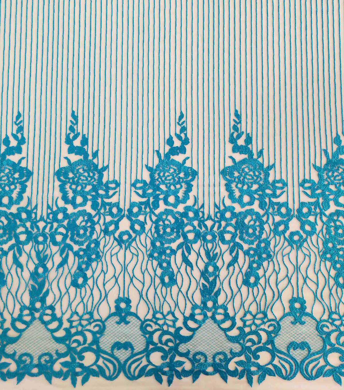 Casa Dahlia Embellished Fabric-Blue Linear Floral