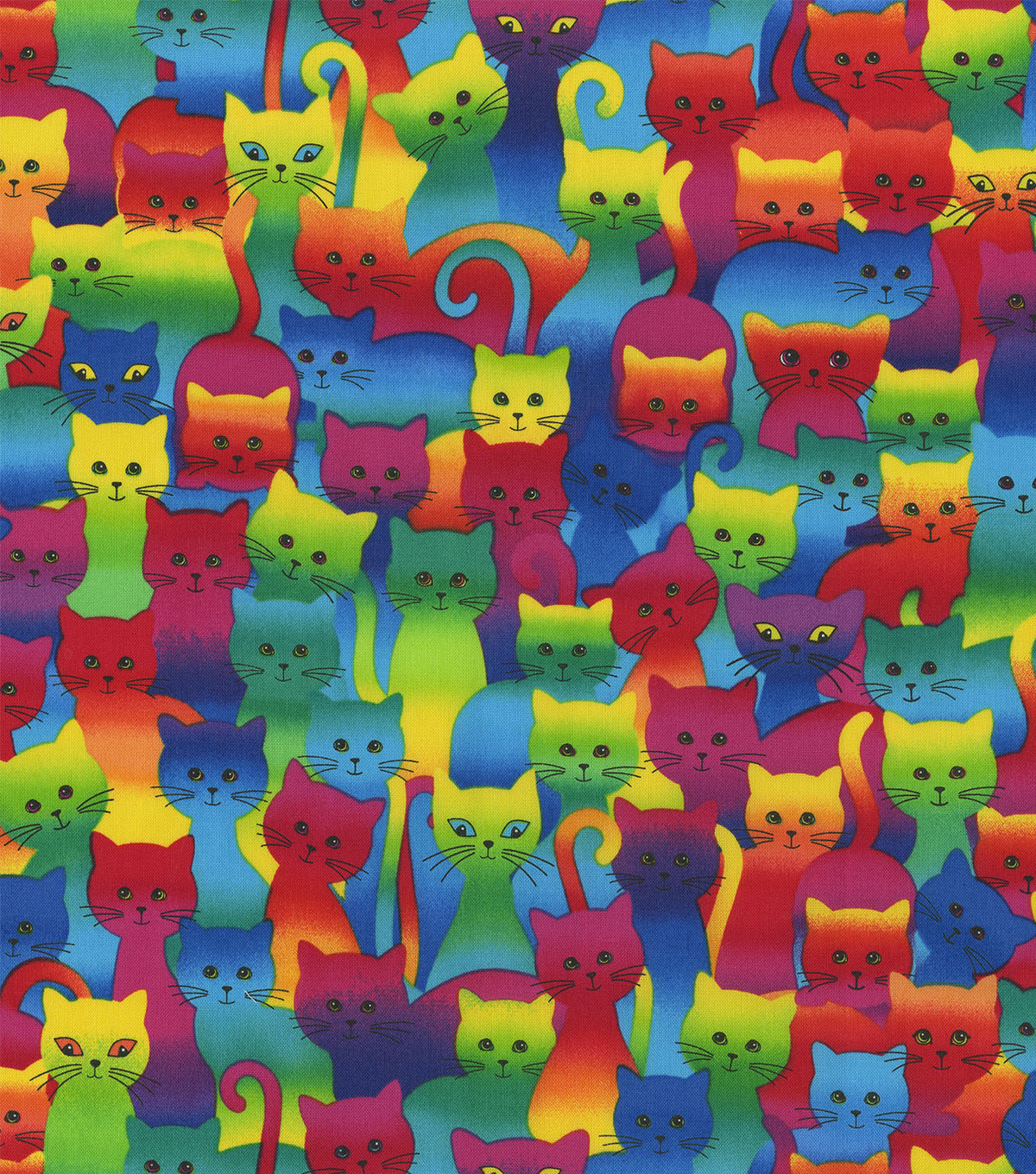 Novelty Cotton Fabric -Tie Dye Packed Cats