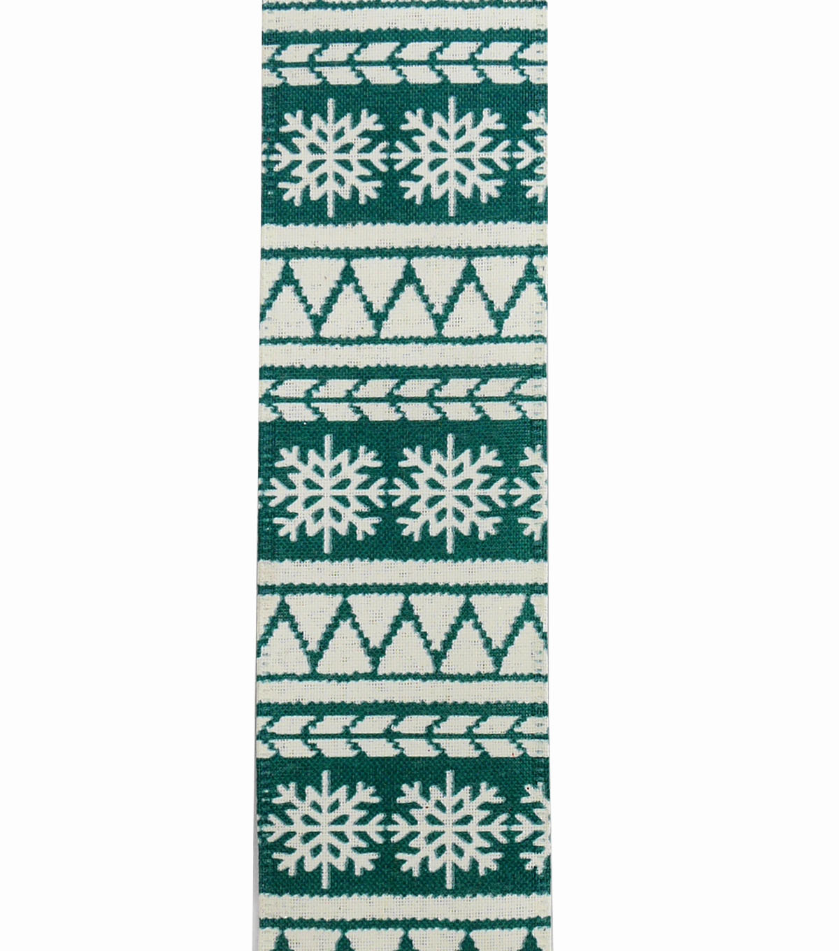 Maker\u0027s Holiday Christmas Ribbon 2.5\u0027\u0027x25\u0027-Turquoise & Ivory Fair Isle