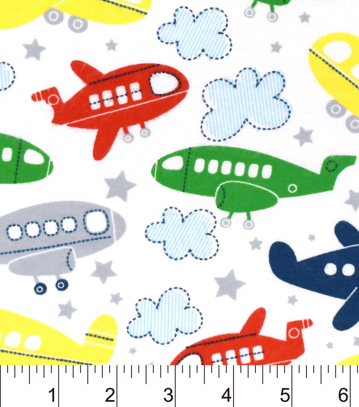 Nursery Flannel Fabric Tossed Airplanes White Joann