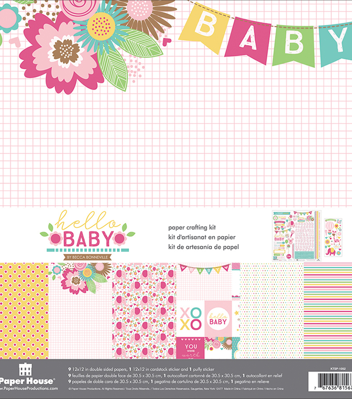 Paper House Paper Crafting Kit 12\u0022X12\u0022-Hello Baby Girl