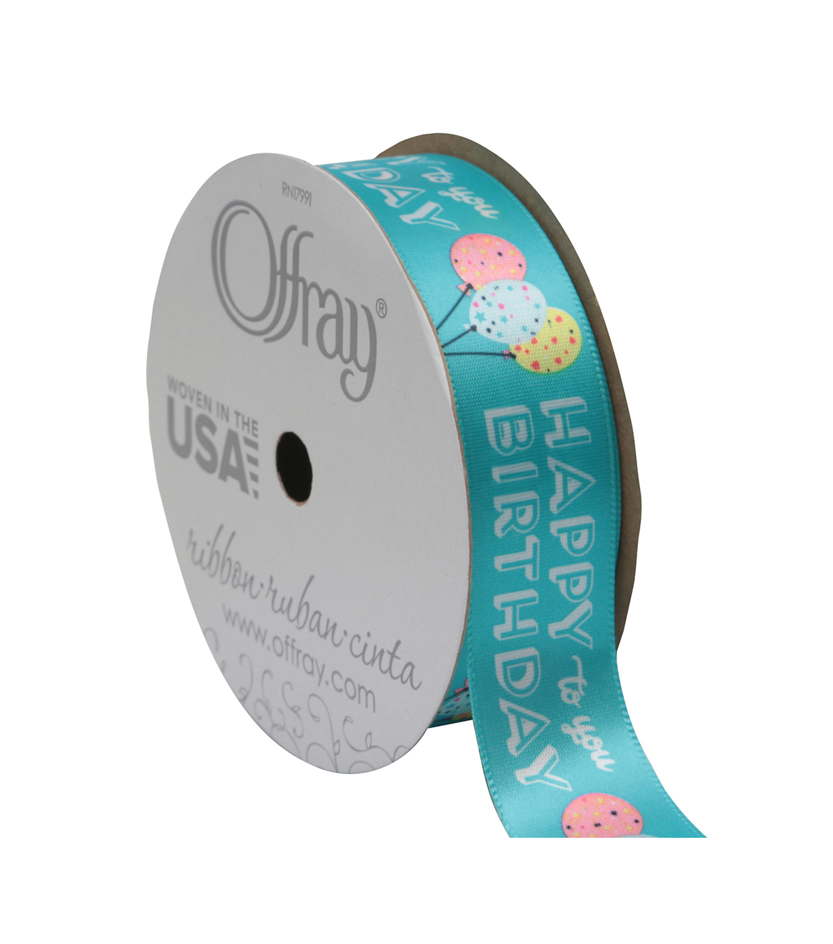 Offray Grosgrain Ribbon 7/8\u0027\u0027x9\u0027-Blue Happy Birthday