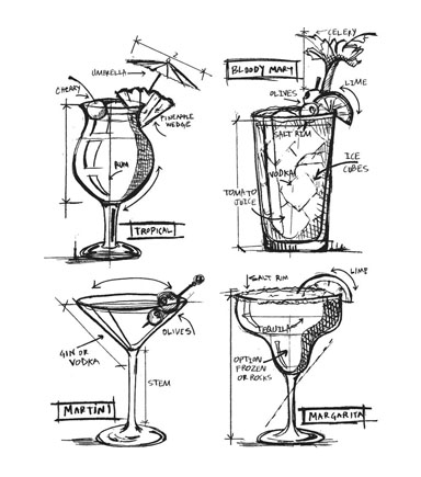Stampers Anonymous Tim Holtz Cling Stamp-Cocktails Blueprint