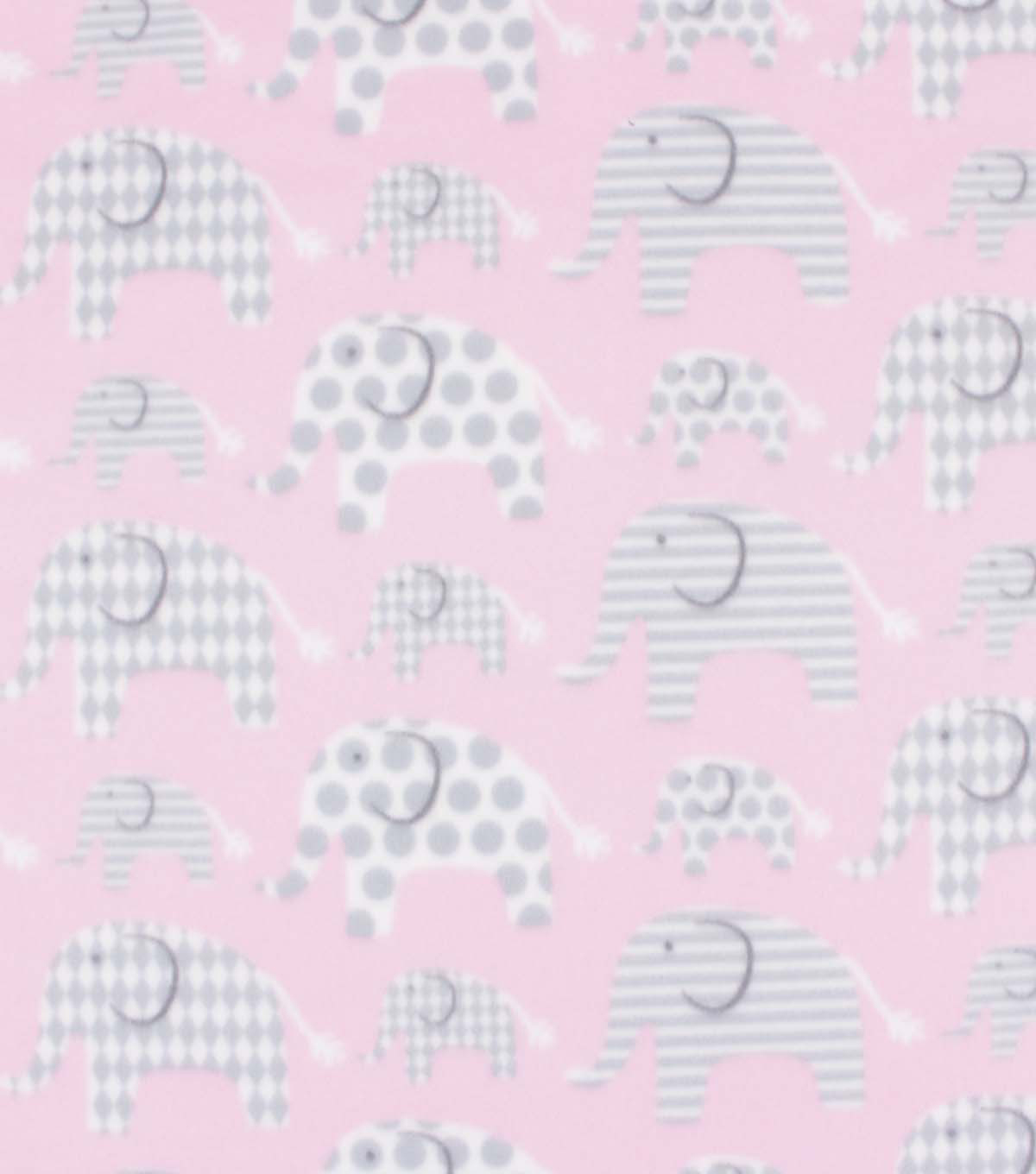 Blizzard Fleece Fabric-Pink Elephant