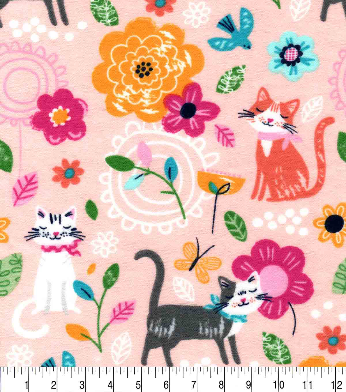 Snuggle Flannel Fabric-Floral Cat