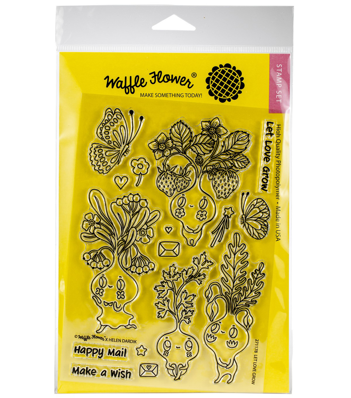 Waffle Flower Crafts Clear Stamp 5\u0022X7\u0022-Let Love Grow