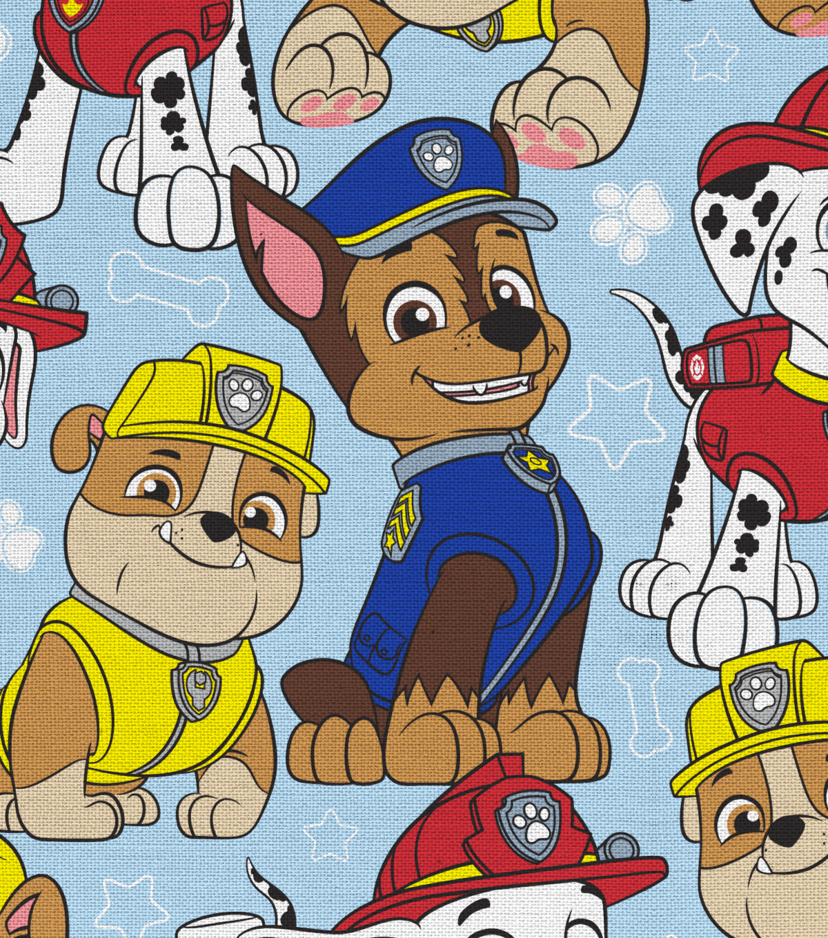 Nick Junior Paw Patrol Cotton Fabric -Packed on Blue