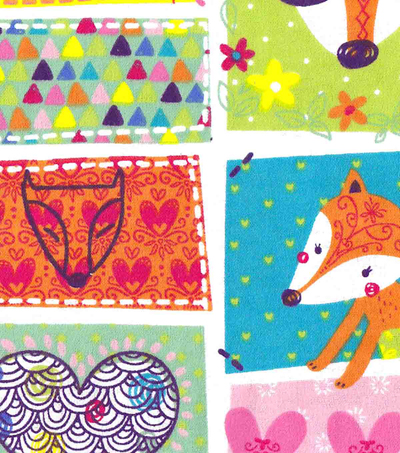 Snuggle Flannel Fabric -Whimsy Fox