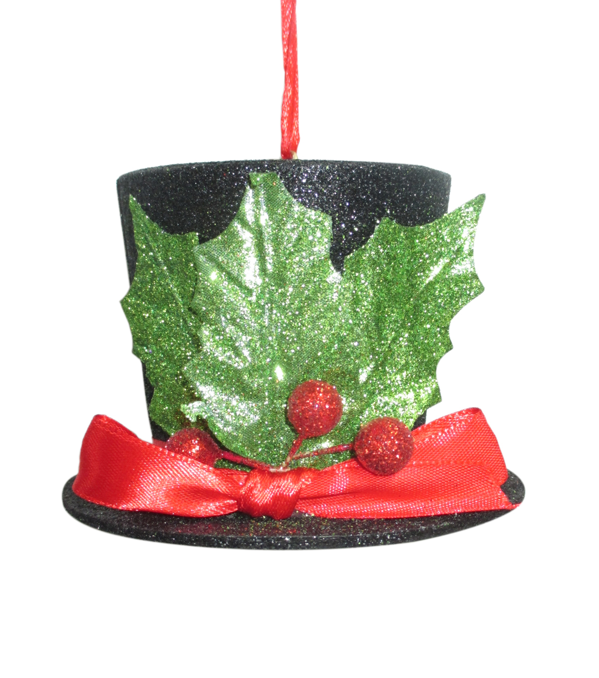 Maker\u0027s Holiday Christmas Whimsy Workshop Glitter Top Hat Ornament-Black
