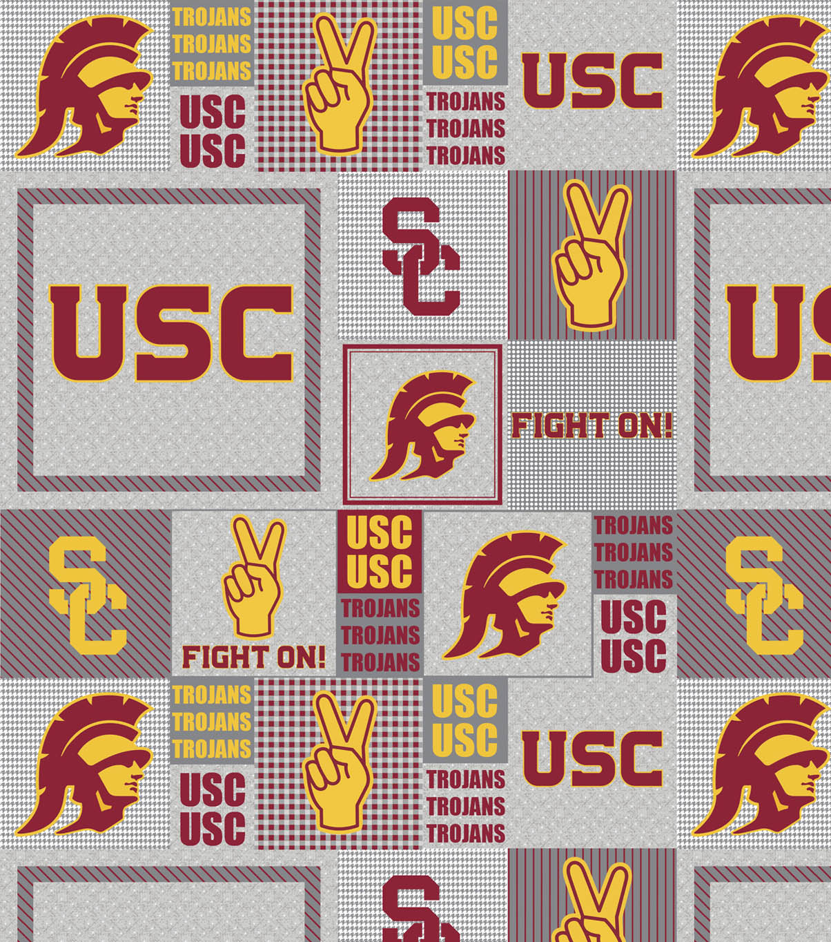 University of Southern California Trojans Fleece Fabric -Gray Block
