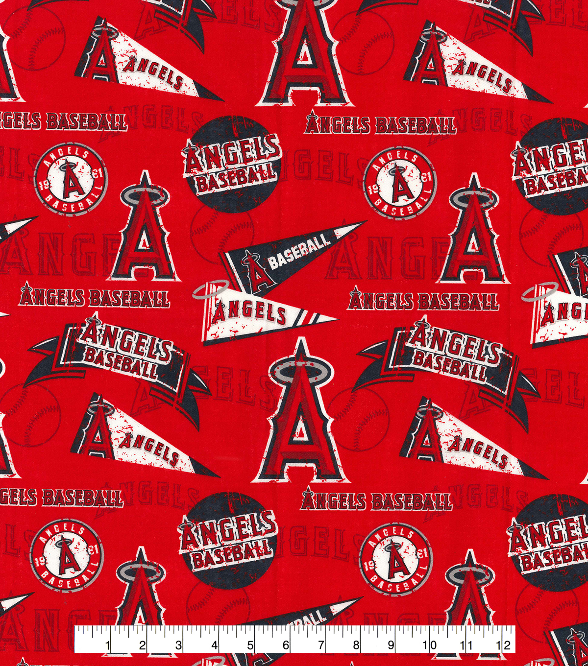 Los Angeles Angels Cotton Fabric 44\u0022-Vintage