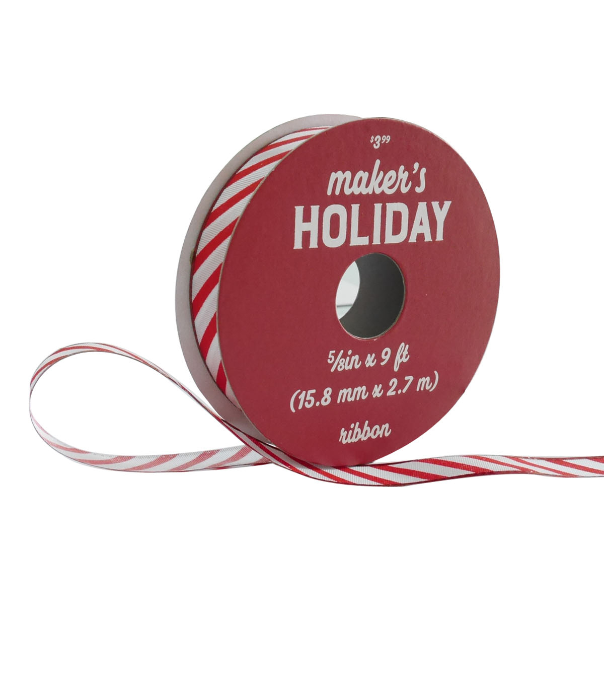 Maker\u0027s Holiday Christmas Ribbon 5/8\u0027\u0027x9\u0027-Red & White Candy Stripes