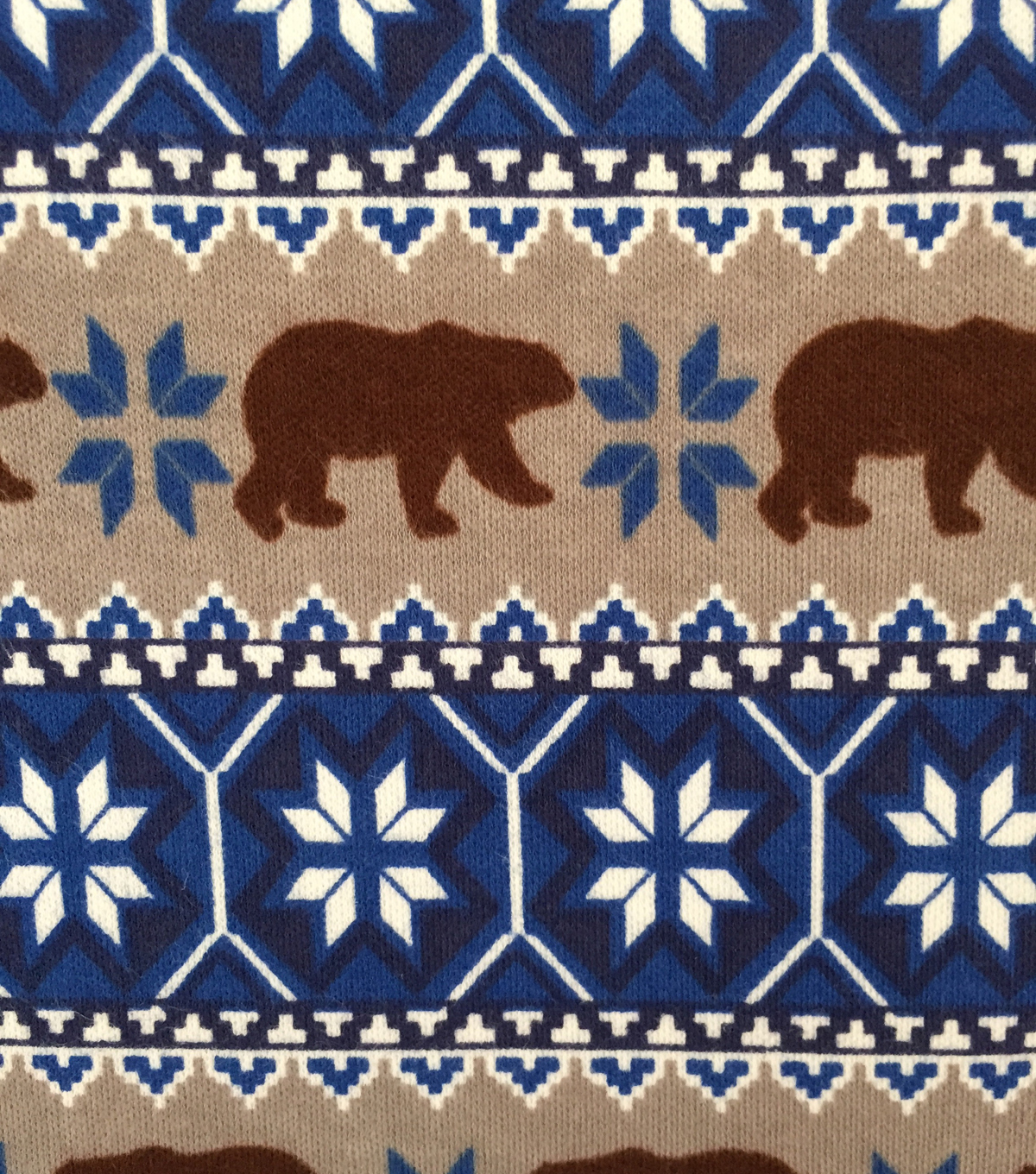 Doodles Juvenile Apparel Fabric -Fairisle Brown Bear Interlock
