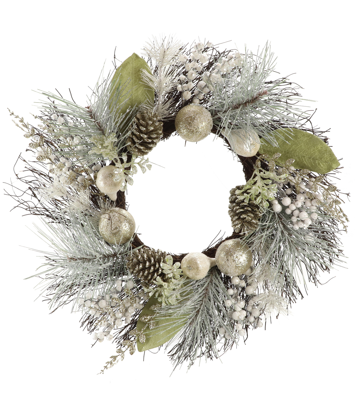 Handmade Holiday Christmas Pinecone & Frosted Champagne Ornament Wreath