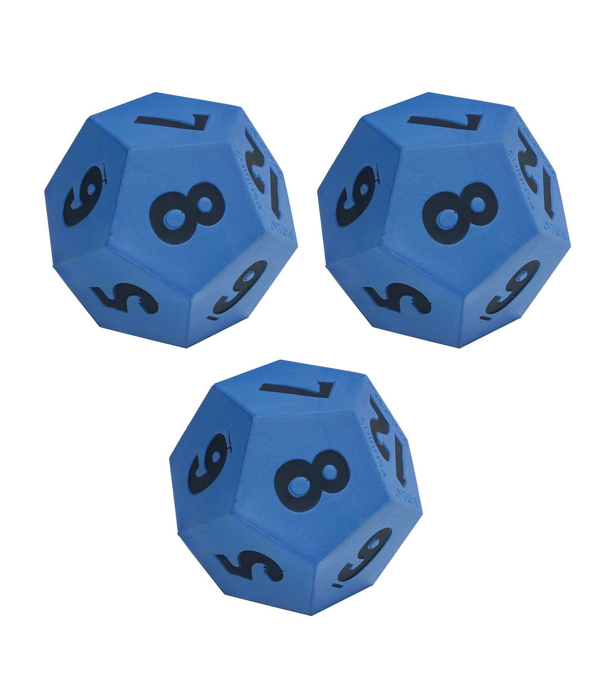 Learning Advantage Foam 12-Sided Demonstration Die, Pack of 3