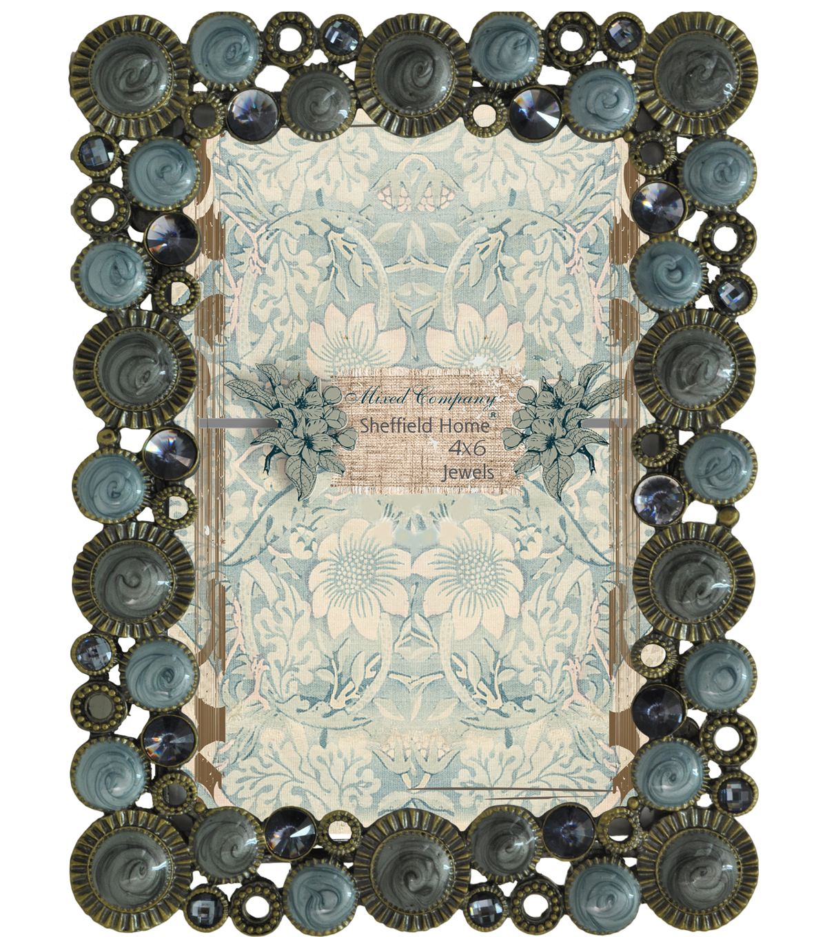 Mixed Company Frame 4x6-Blue/Gray Jewels