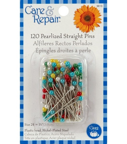 Dritz Pearlized Straight Pins-Size 24 120/Pkg