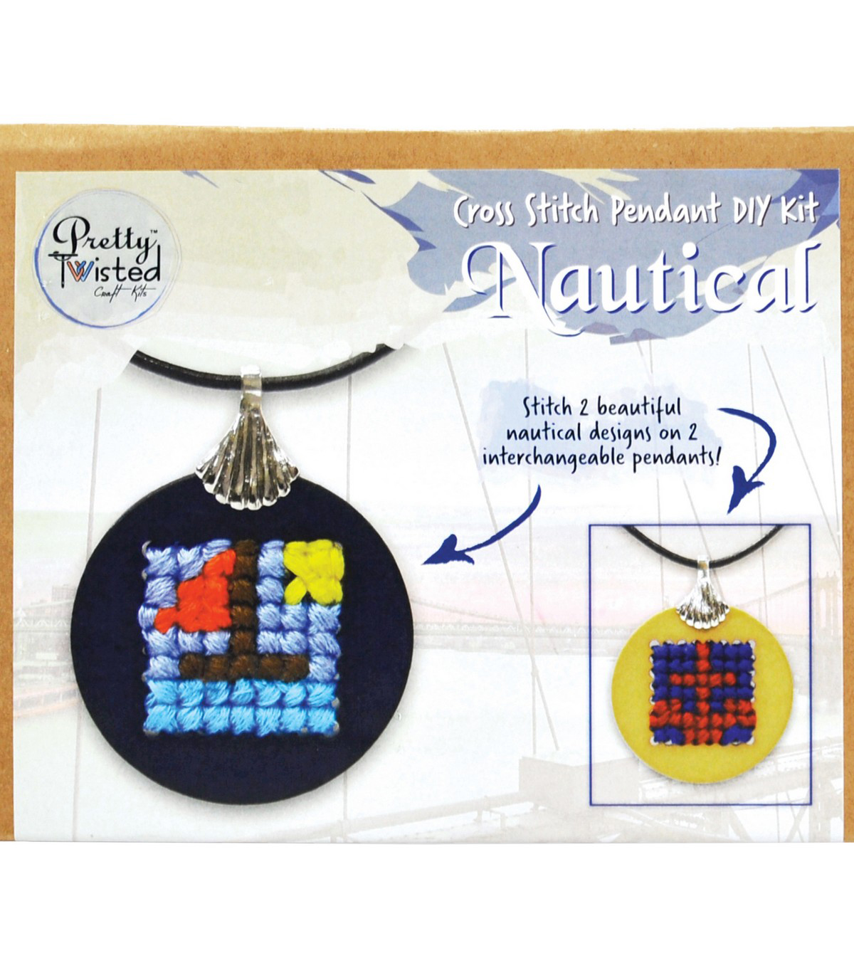 Pretty Twisted Cross Stitch Pendant DIY Craft Kit-Nautical