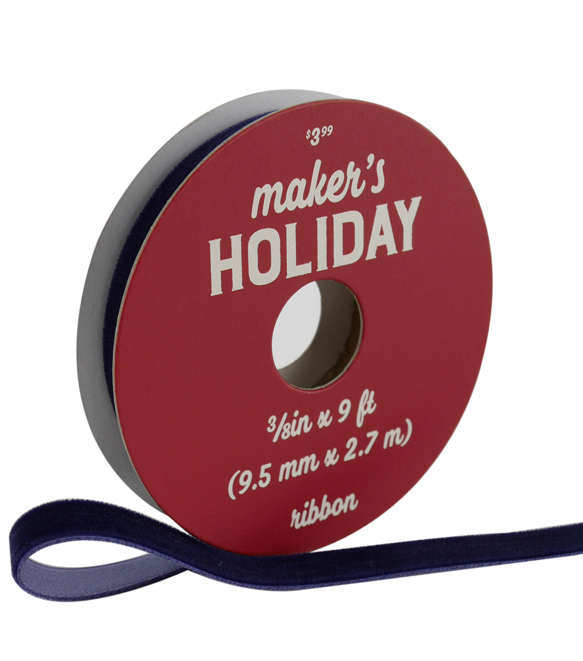 Maker\u0027s Holiday Traditional Holiday Velvet Ribbon 3/8\u0027\u0027x9\u0027-Navy Blue