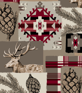 Snuggle Flannel Fabric 42\u0027\u0027-Red Aztec & Lodge Patch