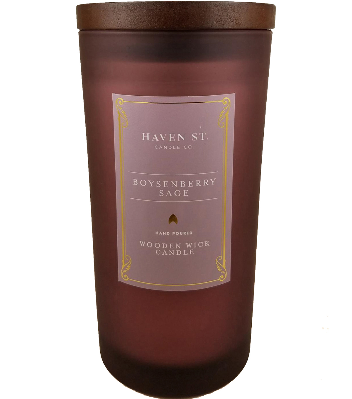 Haven St. Candle Co. 11 oz. Boysenberry Sage Scented Wooden Wick Candle