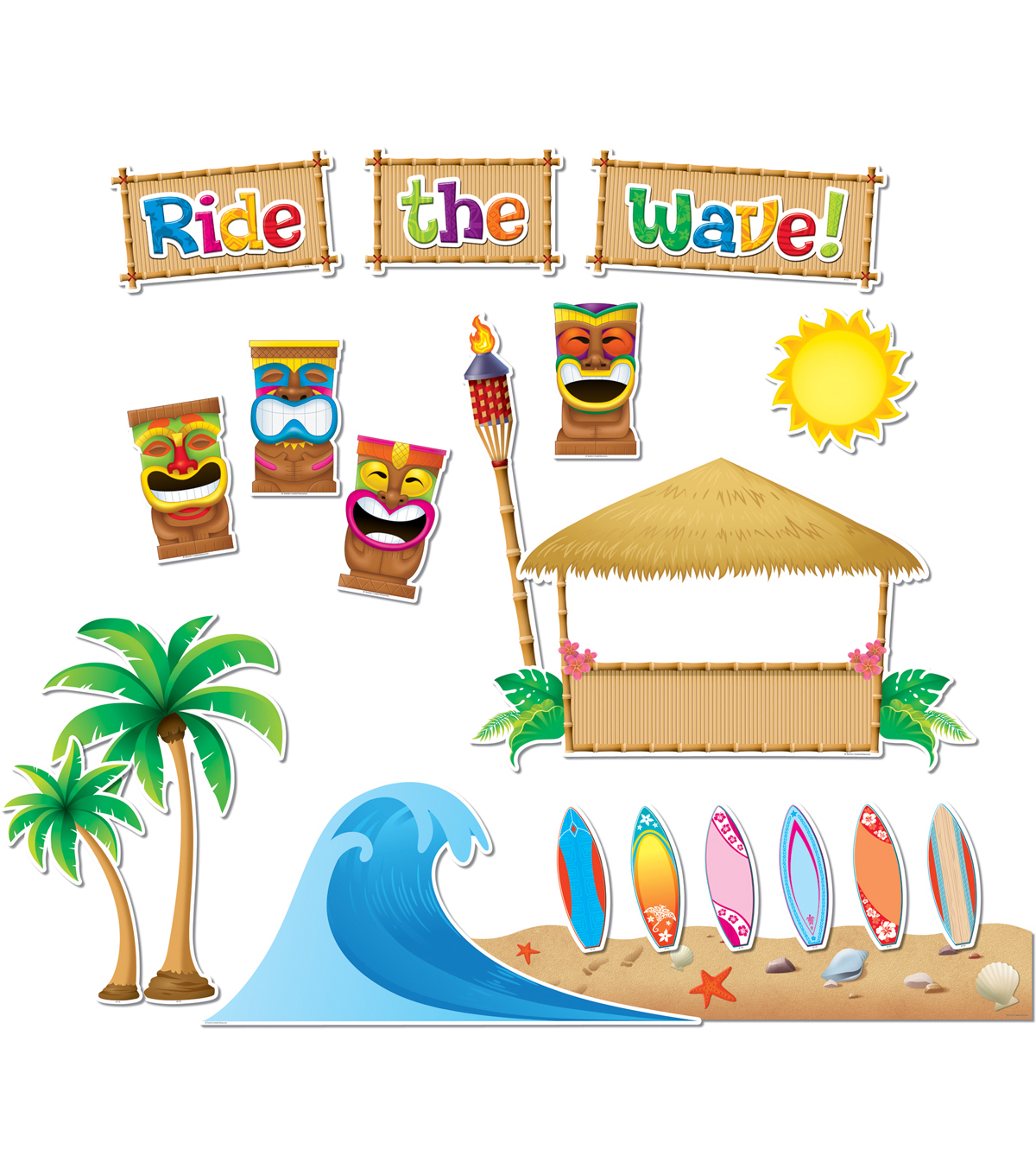 Teacher Created Resources Surfs Up Board Bulletin Display Set, 2 Sets
