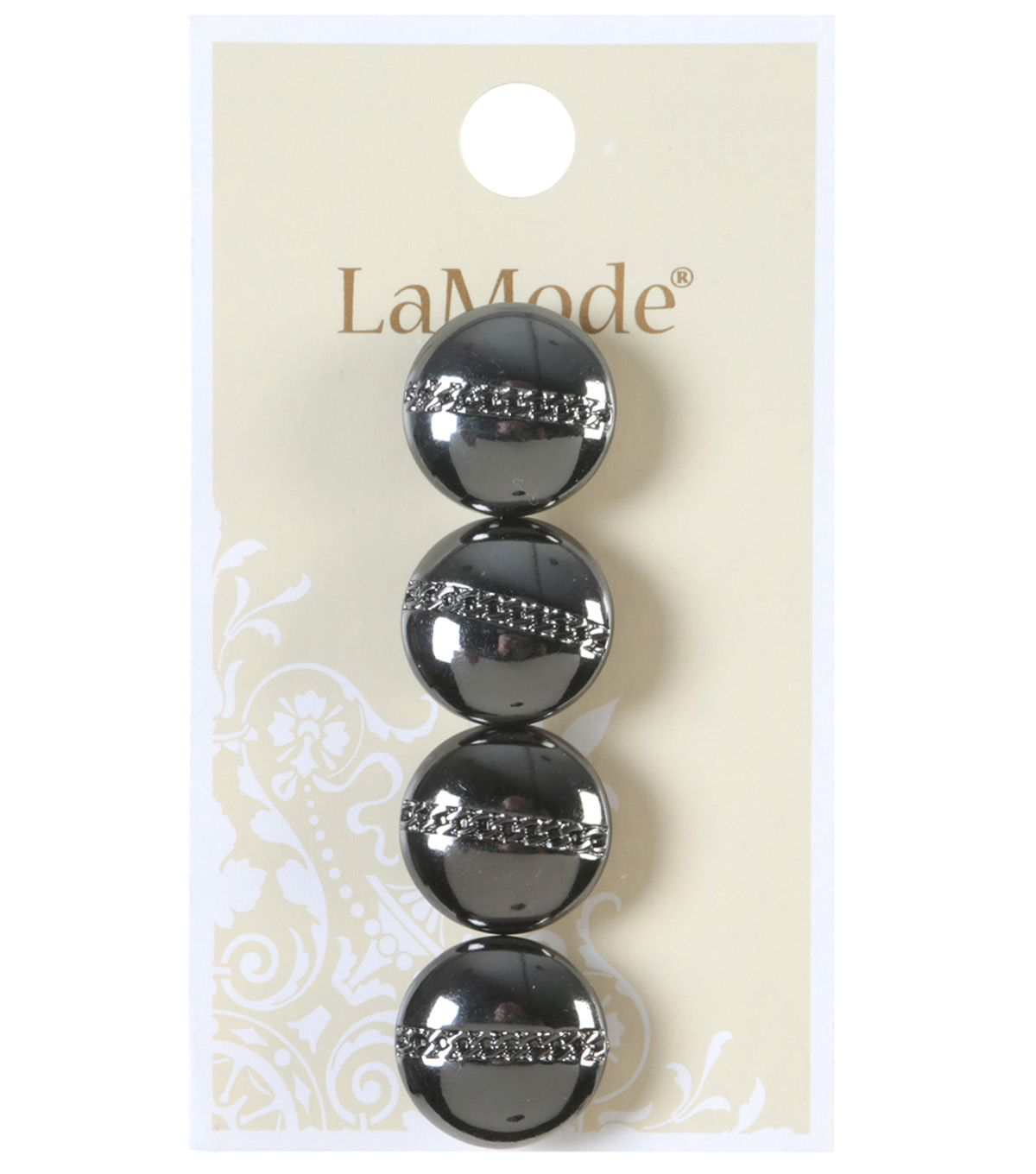 LaMode Gunmetal With Etched Chain Button