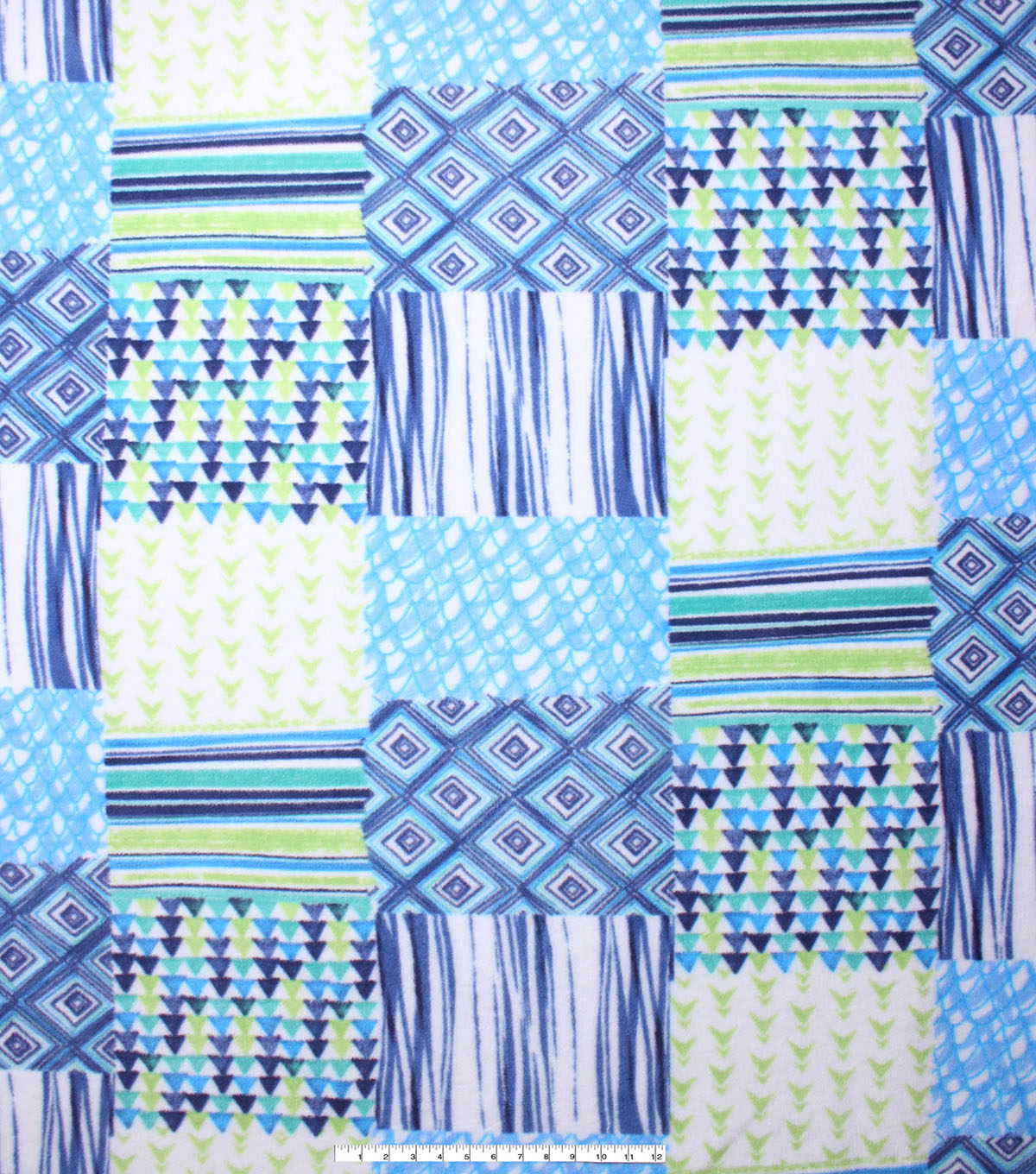 No Sew Fleece Throw Kit 48\u0027\u0027-Blue & Green Geometric Patch