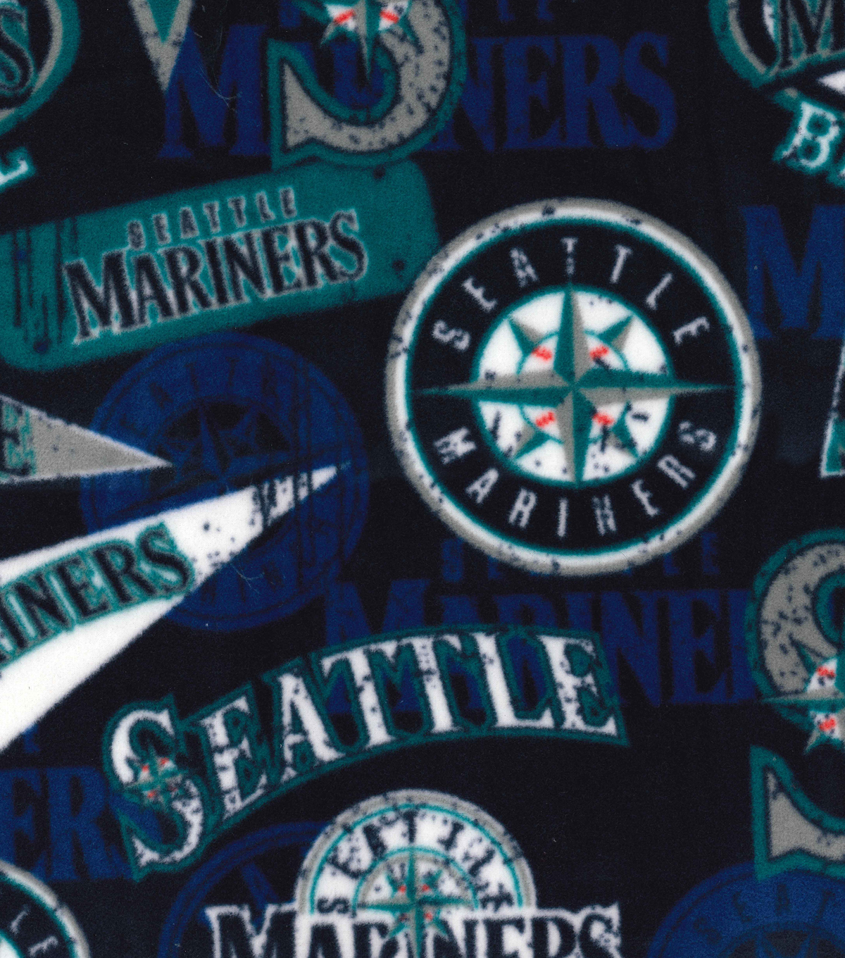 2 Yard Pre-Cut Seattle Mariners Fleece Fabric Remnant-Vintage