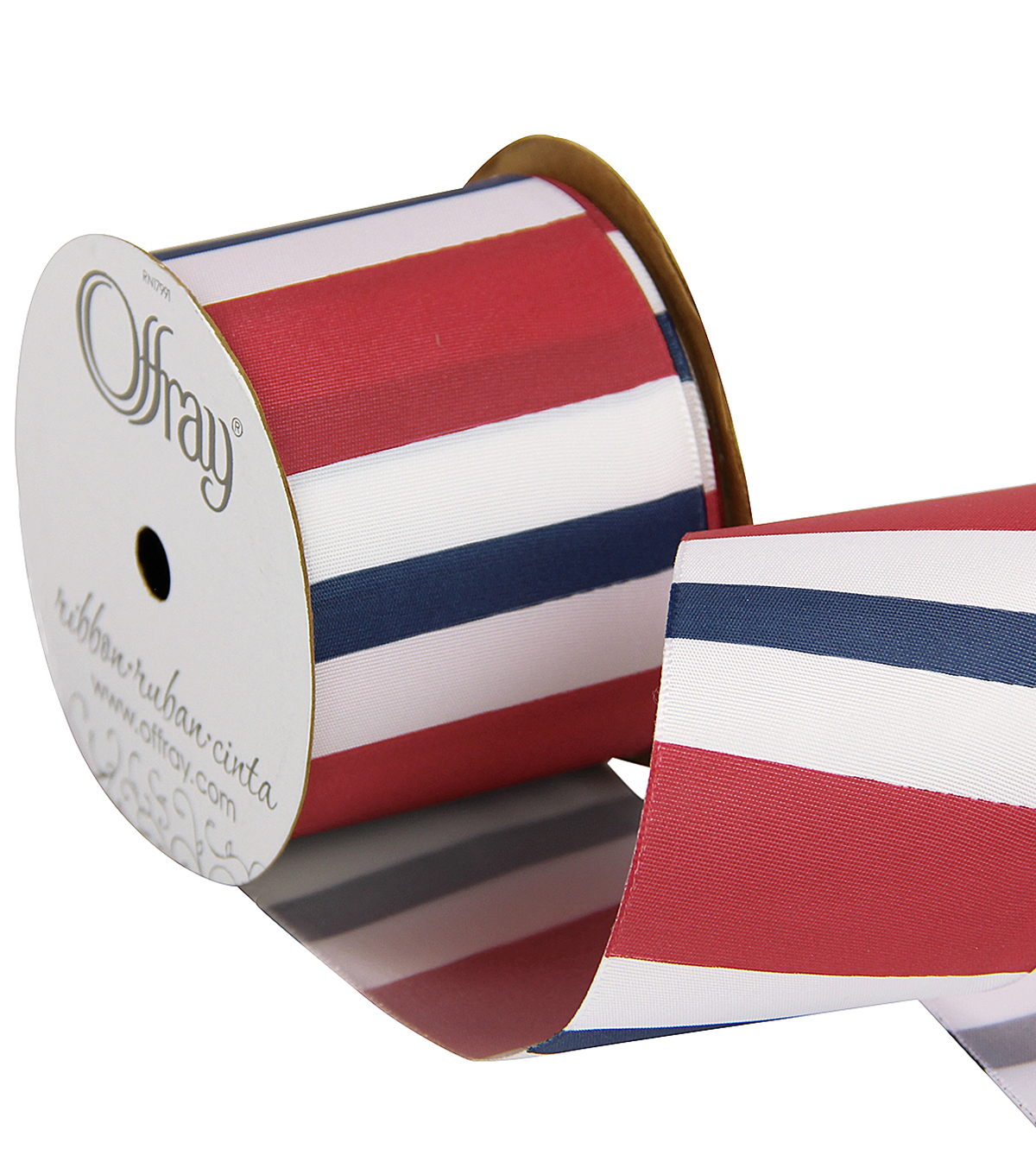 Offray 2.25\u0022 x 9\u0027 Stripe Ribbon-Red/White/Blue