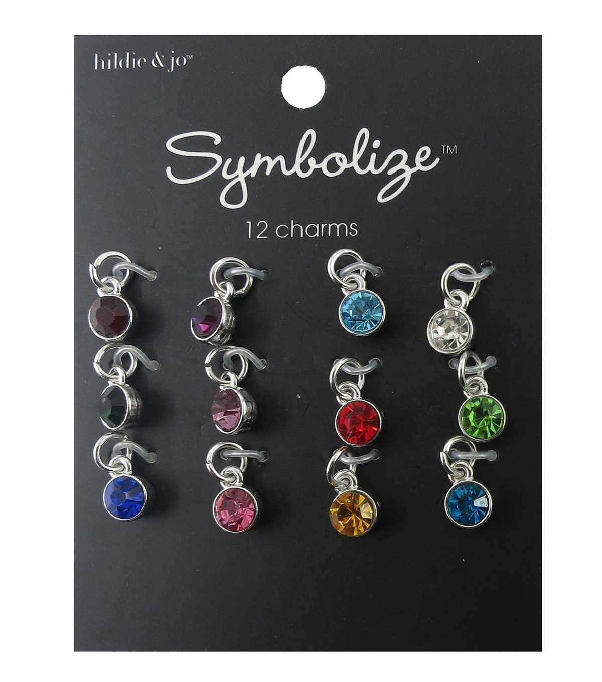 hildie & jo Symbolize 12 Pack Mini Round Silver Birthstone Charms