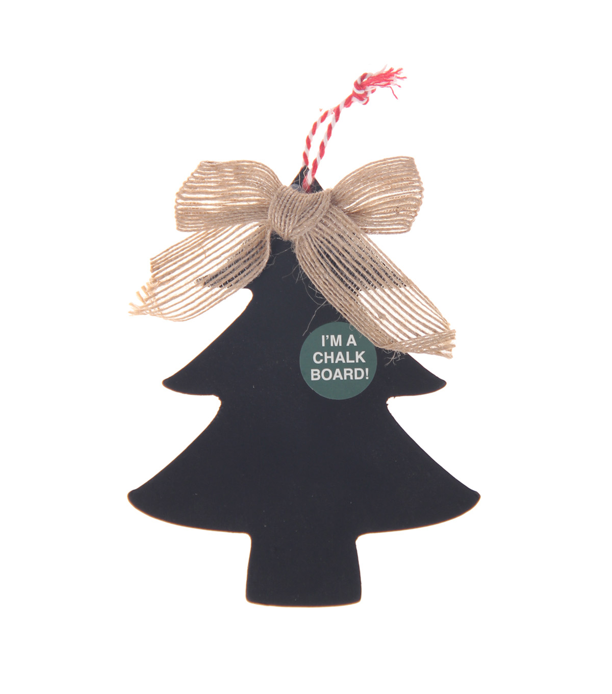 Handmade Holiday Craft Tree Chalkboard Ornament with Burlap Bow