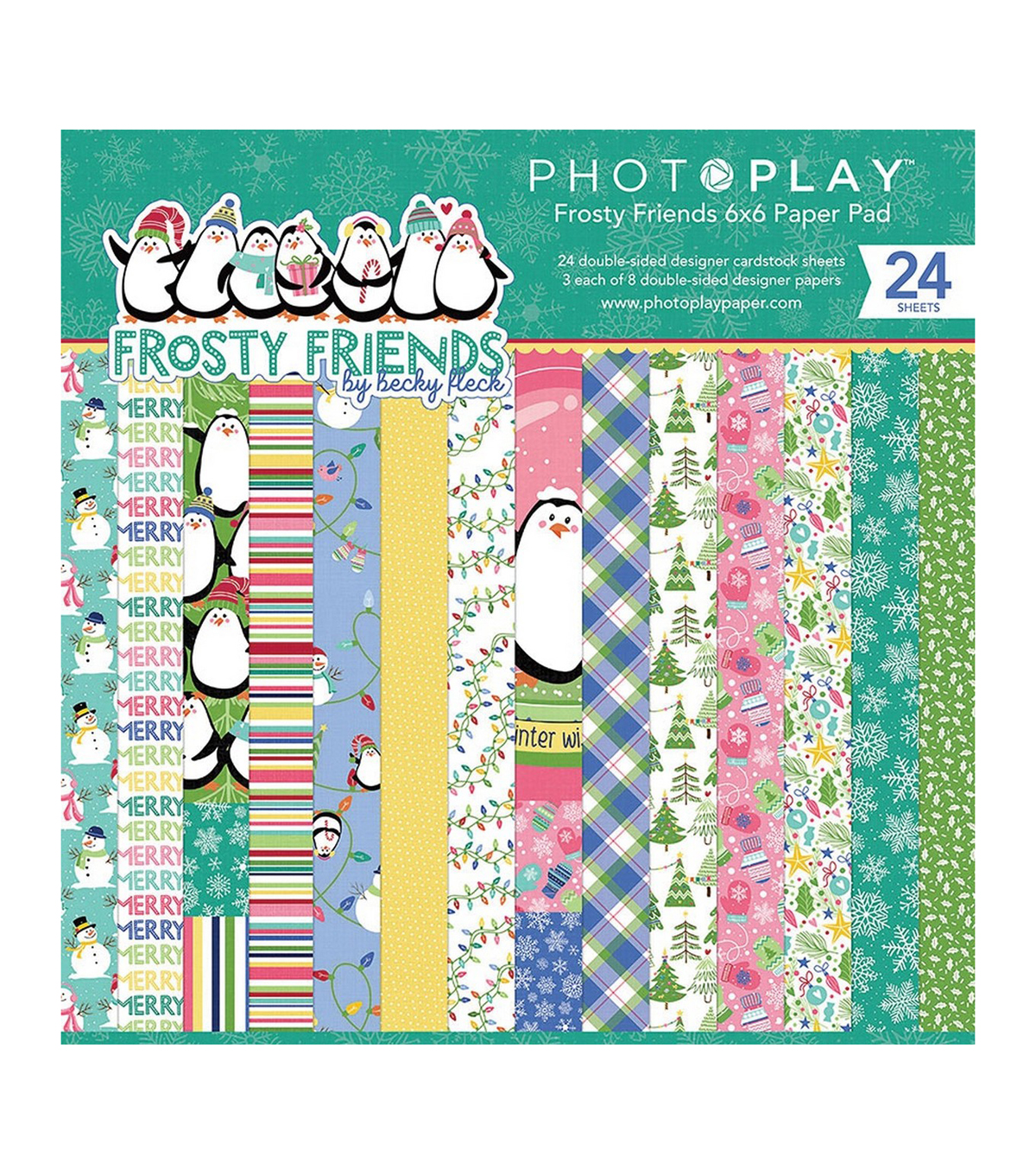 PhotoPlay Double-Sided Paper Pad 6\u0022X6\u0022 24/Pkg-Frosty Friends, 8 Designs