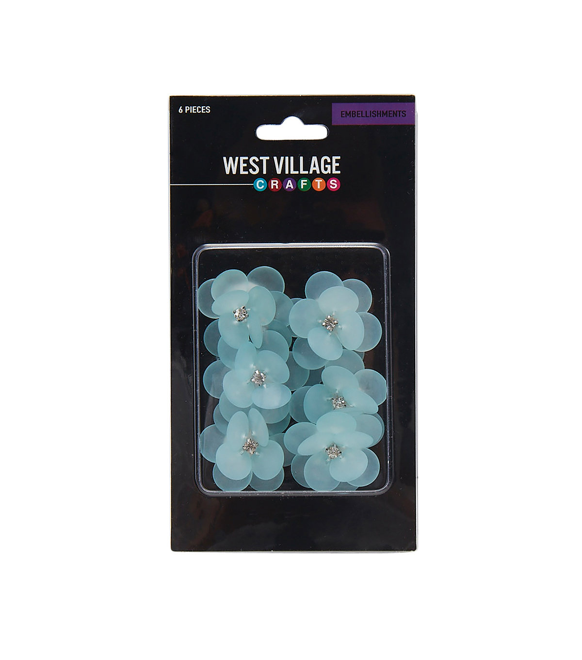 West Village Embellishments-Blue Acrylic Flowers with Jewels