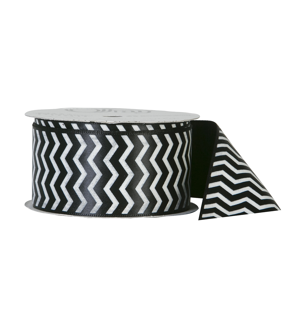 Offray Satin Ribbon 1.5\u0027\u0027x9\u0027-White Zigzag on Black