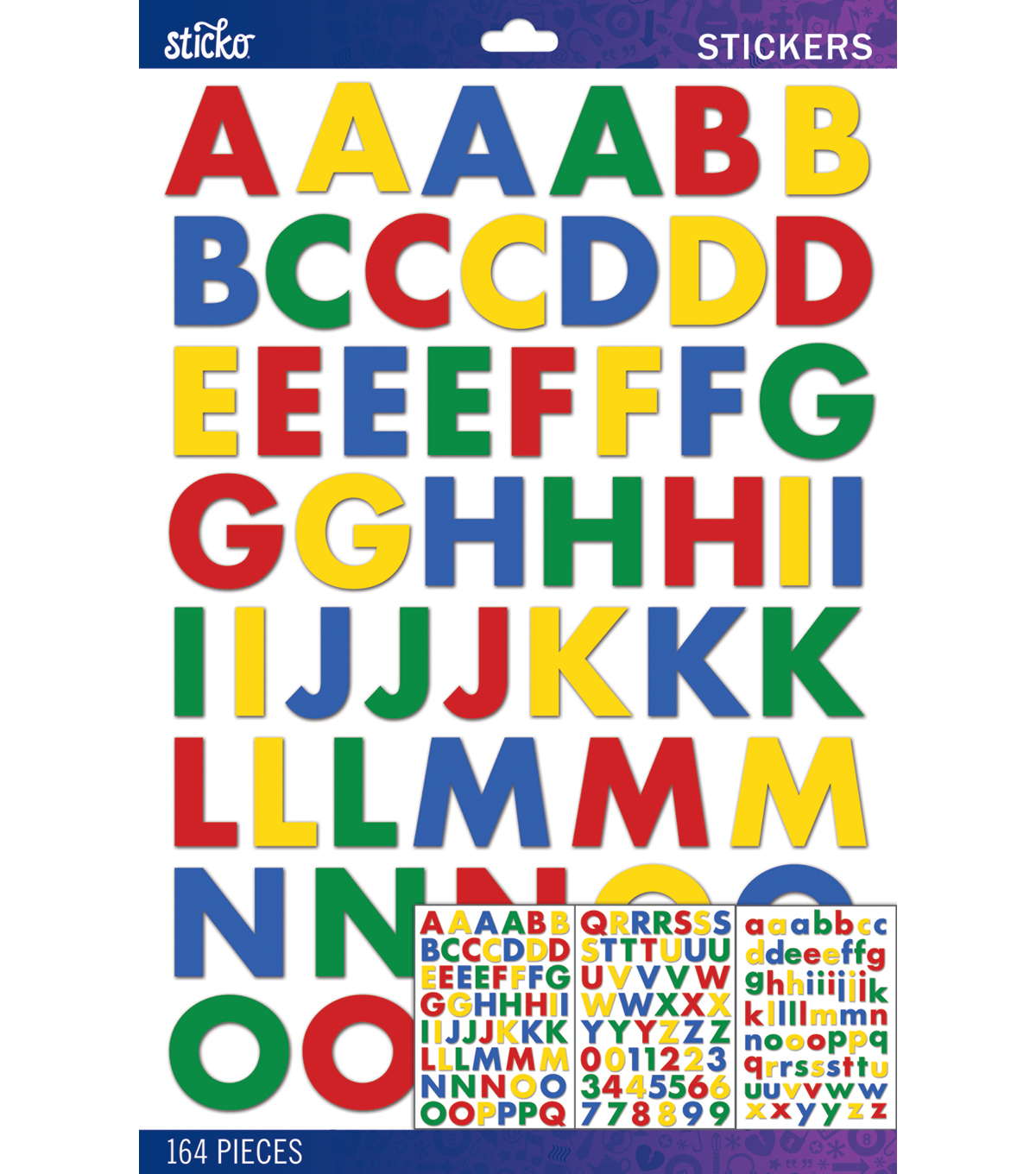 Sticko Black Futura Bold Alphabet Sticker Large, Primary