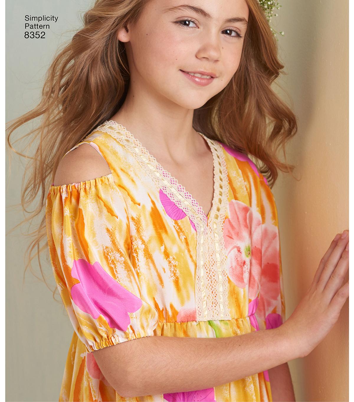 c8176624d4a Simplicity Pattern 8352 Children s Girls  Dress-Size K5 (7-8-10-12 ...