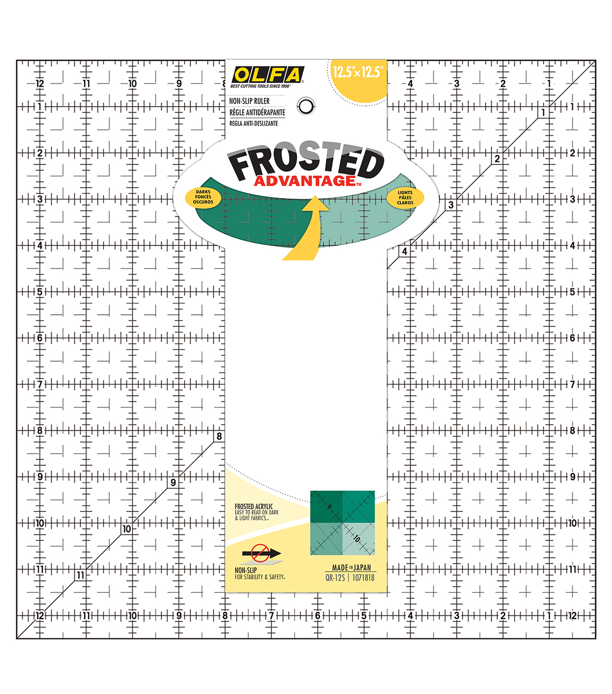 OLFA Frosted Advantage Non-Slip Ruler \u0022The Standard\u0022-12-1/2\u0022X12-1/2\u0022