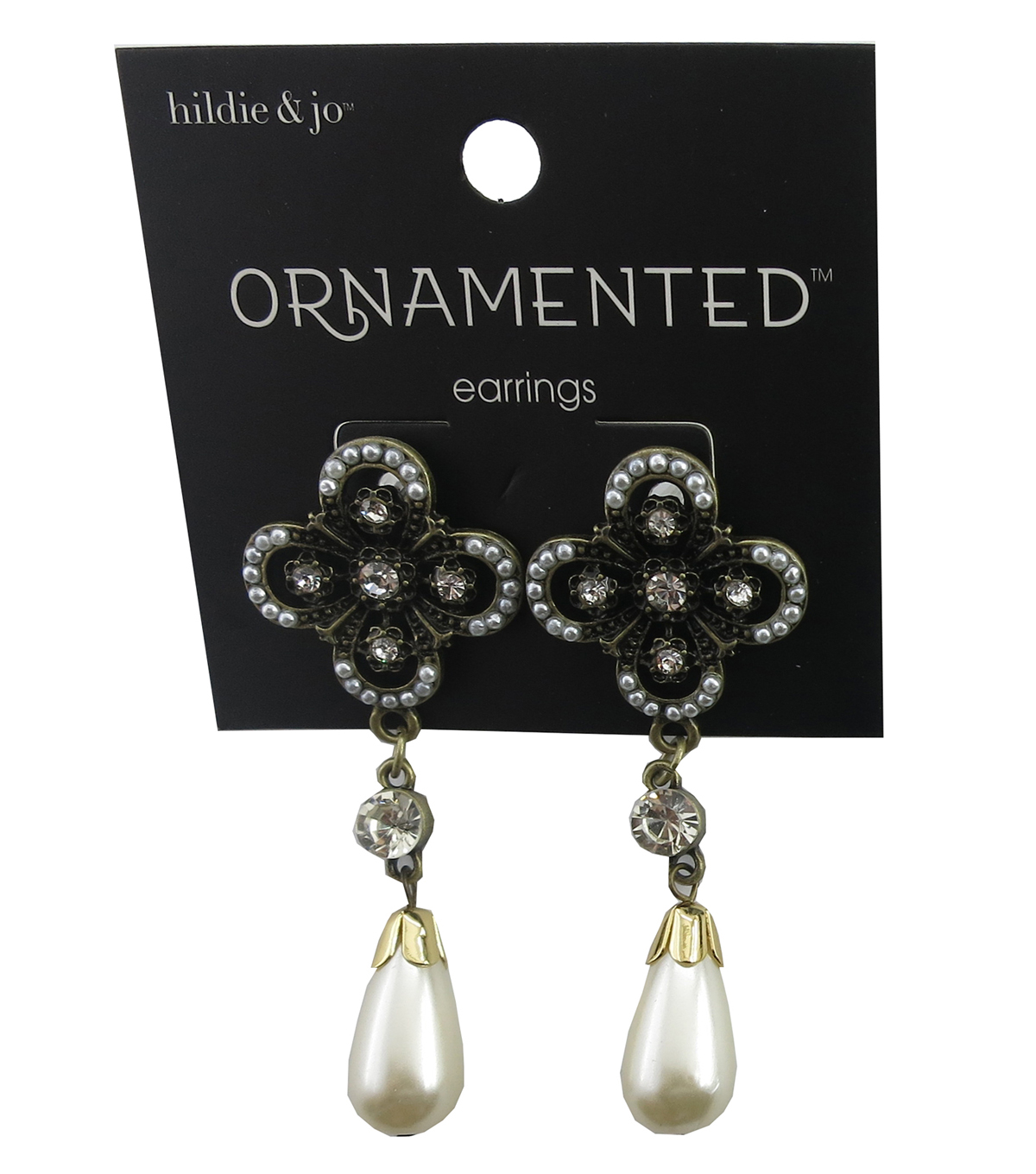 hildie & jo Antique Gold Earrings-Pearl Teardrop & Crystal Accent